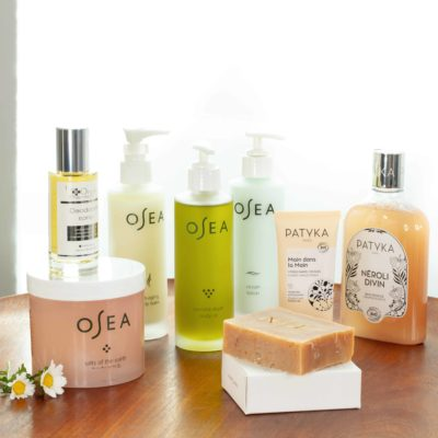 Bottles of Osea products on top of table